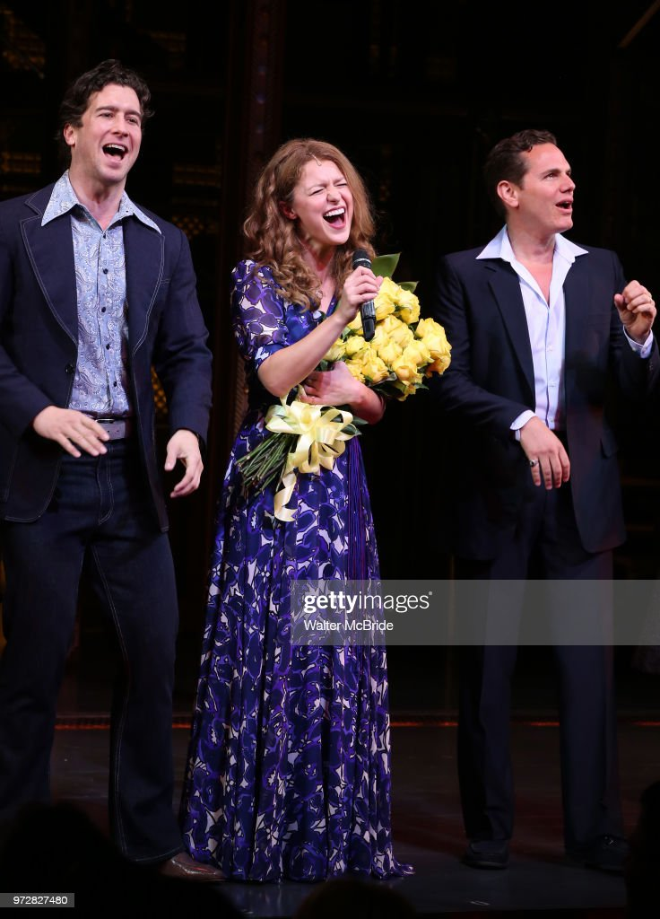 Melissa Benoist with Evan Todd and Paul Anthony Stewart during her opening night debut bows in 'Beautiful-The Carole King Musical' at the Stephen Sondheim on June 12, 2018 in New York City.