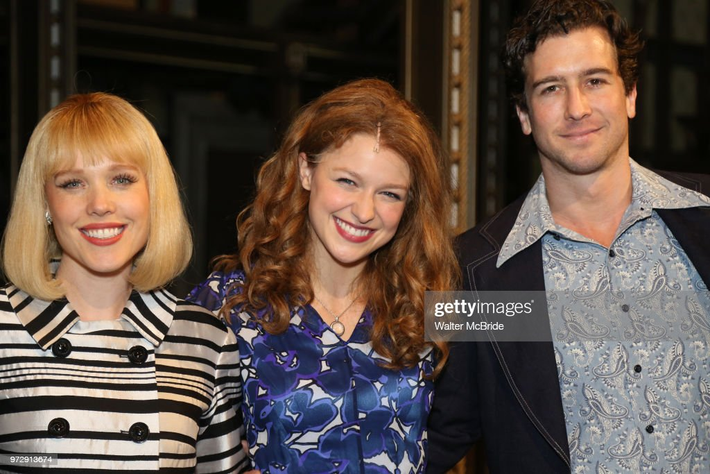 Melissa Benoist with Jessica Keenan Wynn and Evan Todd backstage after her Opening Night debut in 'Beautiful-The Carole King Musical' at the Stephen Sondheim on June 12, 2018 in New York City.