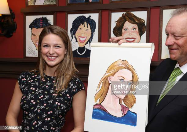 Melissa Benoist with Max Klimavicius during her Sardi's portrait unveiling at Sardi's on July 31 2018 in New York City