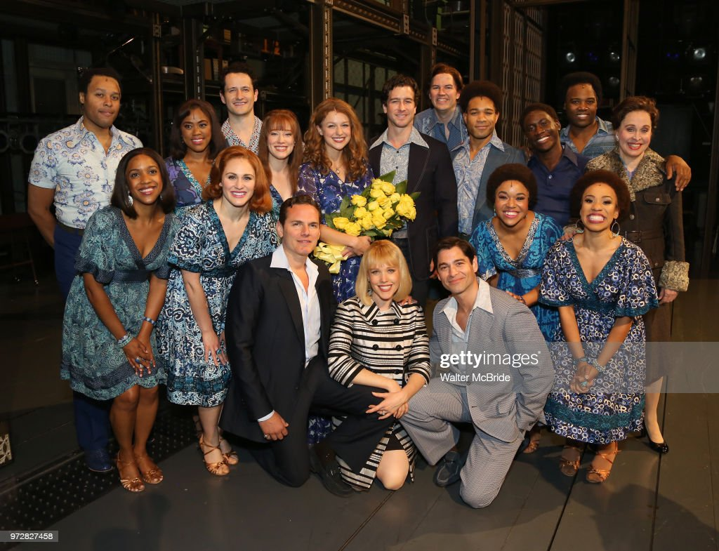 Melissa Benoist with Paul Anthony Stewart, Jessica Keenan Wynn, Evan Todd, Ben Jacoby and Nancy Opel and castbackstage after her opening night debut in 'Beautiful-The Carole King Musical' at the Stephen Sondheim on June 12, 2018 in New York City.