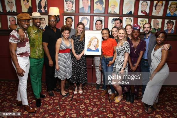 Melissa Benoist with the cast of 'Beautiful The Carole King Musical' during her Sardi's portrait unveiling at Sardi's on July 31 2018 in New York City