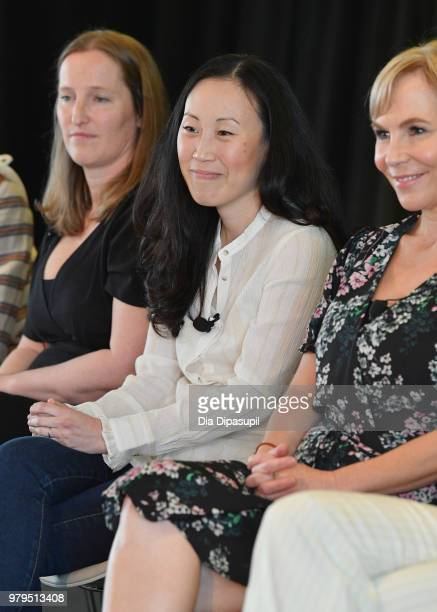 Melissa Bernstein Angela Kang and Marti Noxon speak onstage during the 'KickAss Women of AMC' Panel at the AMC Summit at Public Hotel on June 20 2018...