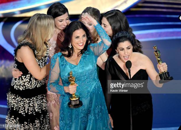 Melissa Berton and Rayka Zehtabchi accept the Documentary award for 'Period End of Sentence' onstage during the 91st Annual Academy Awards at Dolby...