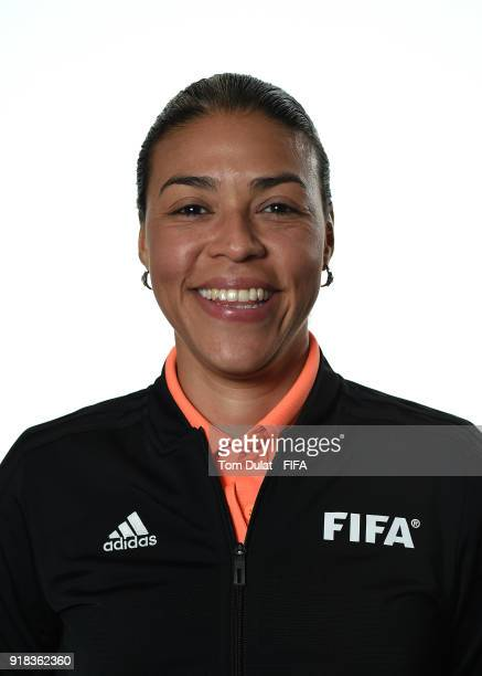Melissa Borjas of Honduras poses for photographs during the FIFA Women's Referee Seminar on February 14 2018 in Doha Qatar