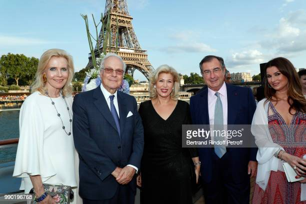 Melissa Bouygues, Baron David de Rothschild, Dominique Ouattara, Martin Bouygues and Nathalie Folloroux attend Line Renaud's 90th Anniversary on July...
