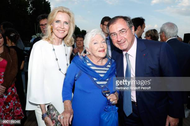 Melissa Bouygues Line Renaud and Martin Bouygues attend Line Renaud's 90th Anniversary on July 2 2018 in Paris France