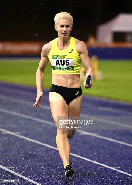 Melissa Breen competes in the Women's 4x100m relay event during the Summer of Athletics Grand Prix at QSAC on March 22 2018 in Brisbane Australia