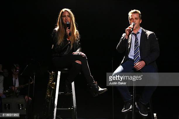 Melissa Broder and Brad Listi attend Literary Death Match's 10 Year Anniversary at The Theatre at Ace Hotel on April 1 2016 in Los Angeles California