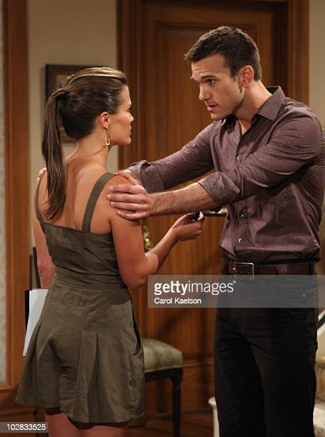 """Melissa Claire Egan and Adam Mayfield in a scene that airs the week of July 19, 2010 on Walt Disney Television via Getty Images Daytime's """"All My..."""