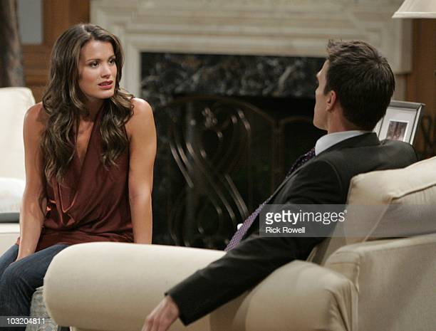 CHILDREN Melissa Claire Egan and Adam Mayfield in a scene that airs the week of August 9 2010 on Walt Disney Television via Getty Images Daytime's...