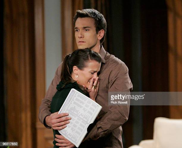 """Melissa Claire Egan and Adam Mayfield in a scene that airs the week of February 15, 2010 on Walt Disney Television via Getty Images Daytime's """"All My..."""