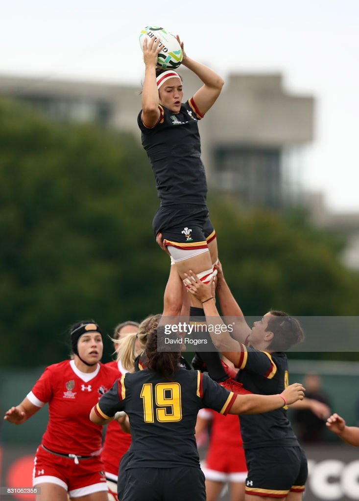 Melissa Clay of Wales wins lineout ball during the Women's Rugby World Cup 2017 match between Canada and Wales on August 13, 2017 in Dublin, Ireland.