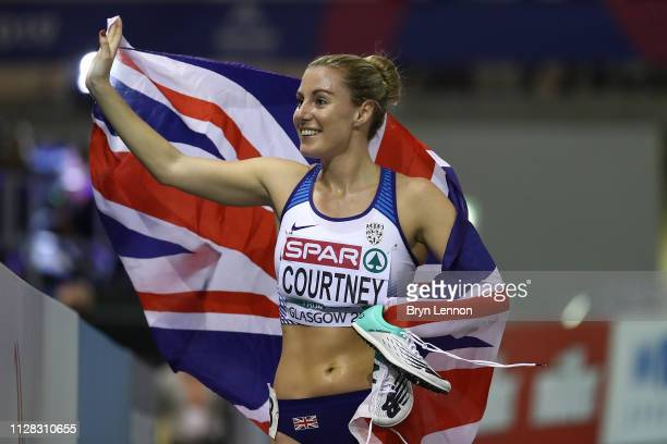 Melissa Courtney of Great Britain celebrates winning bronze in the final of the women's 3000m on day one of the 2019 European Athletics Indoor...