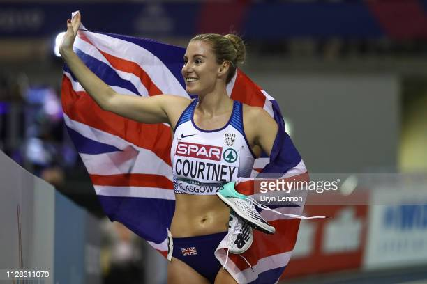 Melissa Courtney of Great Britain celebrates winning bronze in the final of the women's 3000m during day one of the 2019 European Athletics Indoor...