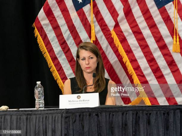 Melissa DeRosa attends Governor Cuomo announcement and holds briefing on COVID19 response at Feinstein Institute for Medical Research