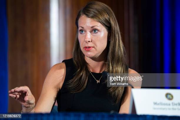 Melissa DeRosa secretary to New York Gov Andrew Cuomo conducts a news conference with Cuomo on the COVID19 pandemic at the National Press Club in...