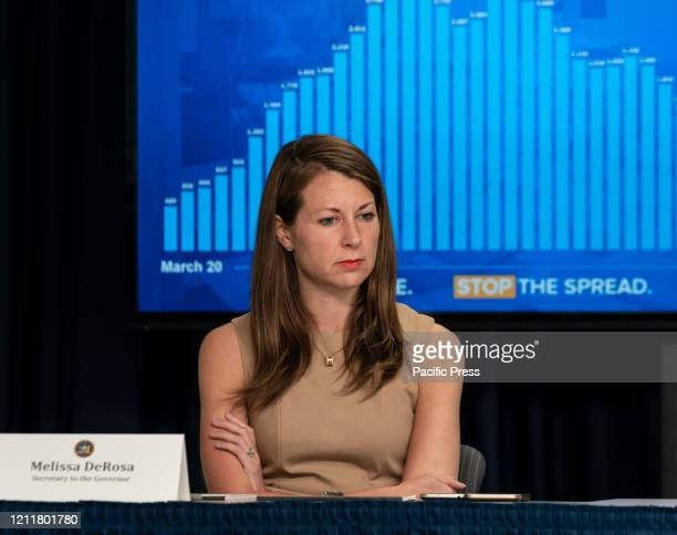 Melissa DeRosa Secretary to the Governor attends Andrew Cuomo daily media briefing on COVID19 pandemic at Manhattan office