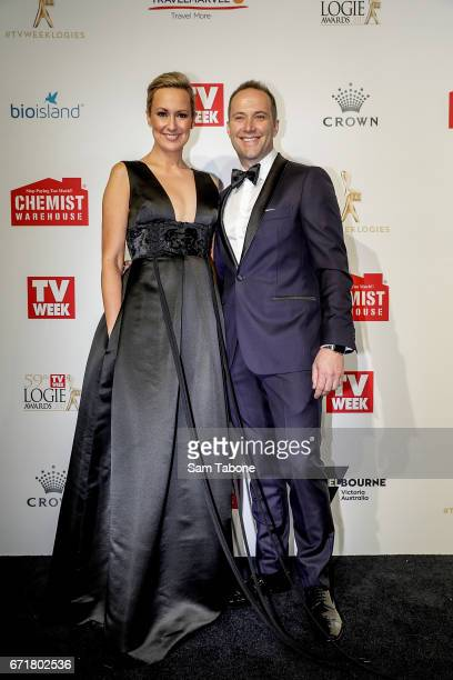 Melissa Doyle and partner arrives at the 59th Annual Logie Awards at Crown Palladium on April 23 2017 in Melbourne Australia