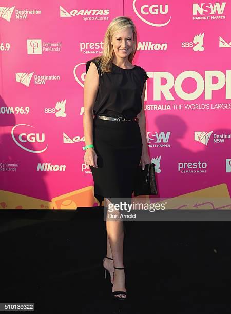 Melissa Doyle arrives ahead of Tropfest 2016 at Centennial Park on February 14 2016 in Sydney Australia