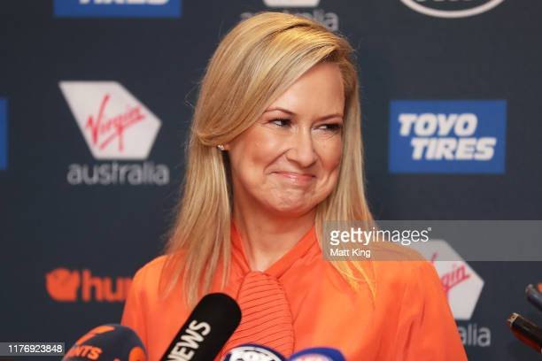 Melissa Doyle speaks to the media during a Greater Western Sydney Giants media opportunity at The Star on September 25, 2019 in Sydney, Australia.