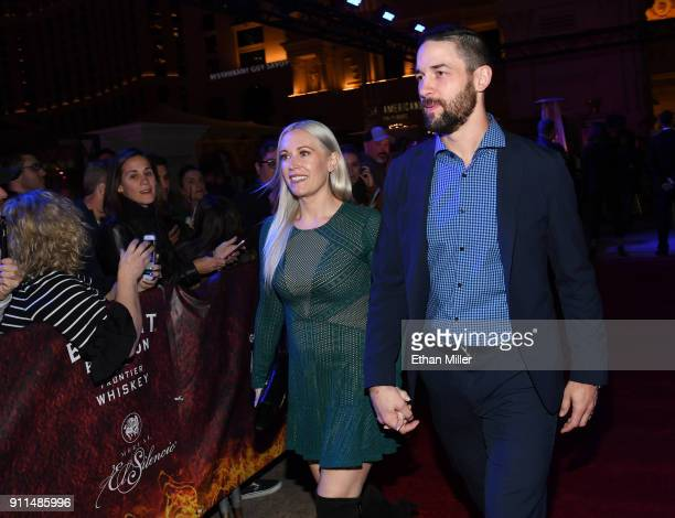 Melissa Engelland and her husband Vegas Golden Knights player Deryk Engelland attend the grand opening of the firstever Gordon Ramsay HELL'S KITCHEN...