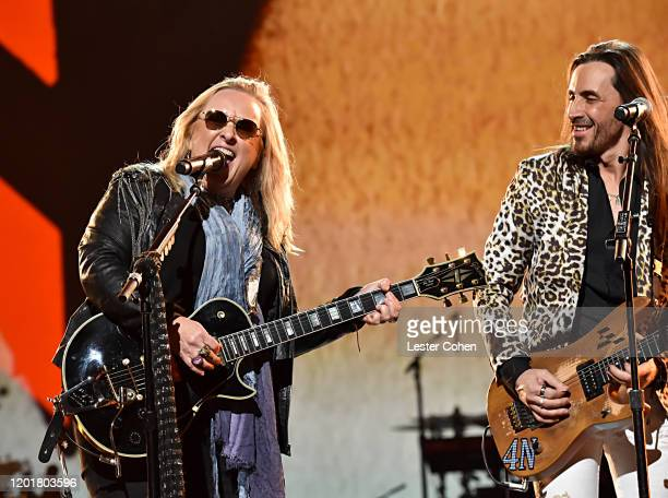 Melissa Etheridge and Nuno Bettencourt attend MusiCares Person of the Year honoring Aerosmith at West Hall at Los Angeles Convention Center on...