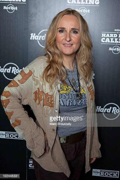 Melissa Etheridge posing in the Hard Rock Cafe backstage VIP tent on day two of Hard Rock Calling in Hyde Park on June 26 2010 in London England
