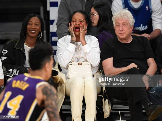 Melissa Forde and Rihanna attend a basketball game between the Los Angeles Lakers and the Utah Jazz at the at Staples Center on October 25 2019 in...