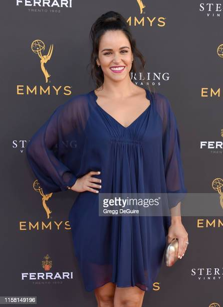 Melissa Fumero arrives at the 71st Los Angeles Area Emmy Awards at Television Academy's Wolf Theatre at the Saban Media Center on July 27 2019 in...