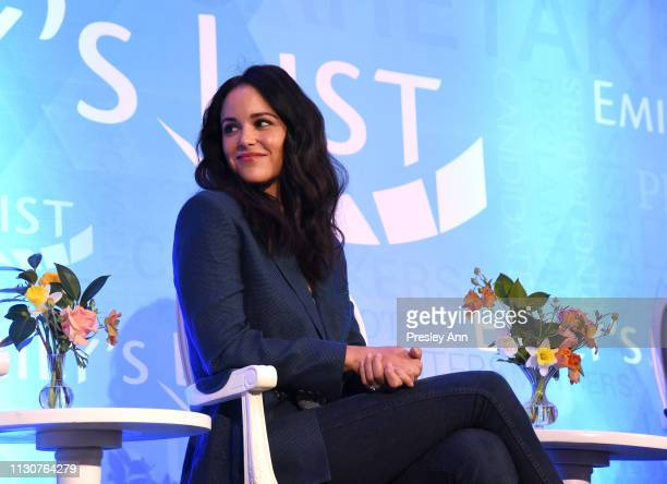 Melissa Fumero speaks onstage during Raising Our Voices Supporting More Women in Hollywood Politics at Four Seasons Hotel Los Angeles in Beverly...