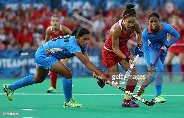 Melissa Gonzalez of Team USA goes after the ball against Team India in the second half during a field hockey match in preparation for the upcoming...