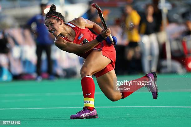Melissa Gonzalez of Team USA takes a shot against Team India in the first half during a field hockey match in preparation for the upcoming Rio...