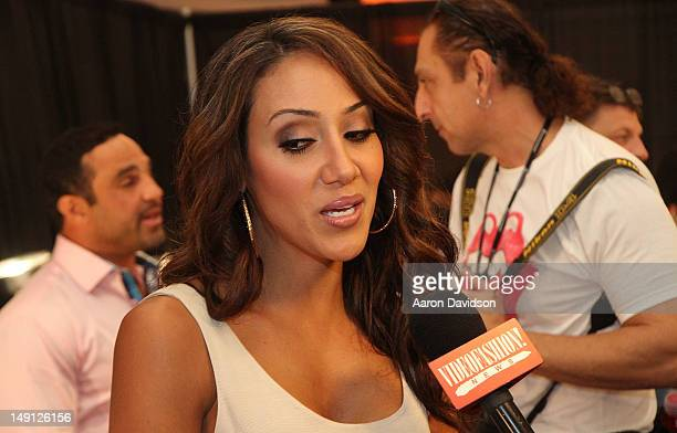 Melissa Gorga backstage at L Space By Monica Wise MercedesBenz Fashion Week Swim 2013 at Raleigh Hotel on July 22 2012 in Miami Beach Florida