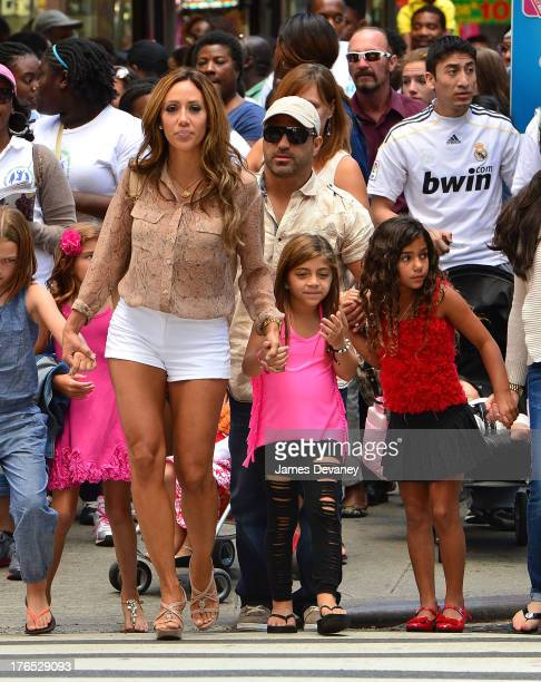 Melissa Gorga, Joe Gorga, Milania Giudice and Antonia Gorga seen on the streets of Manhattan after attending ANNIE the Musical on August 14, 2013 in...