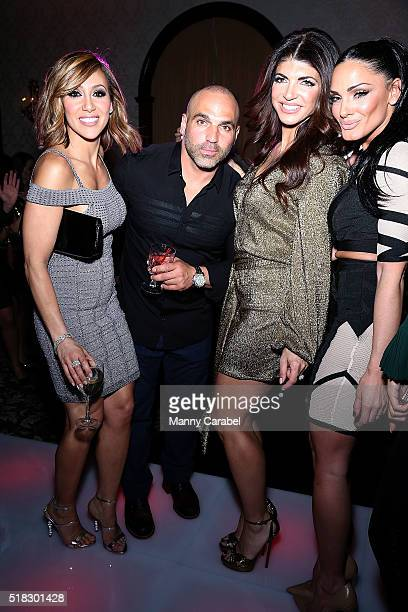 Melissa Gorga Joe Gorga Teresa Giudice and Priscilla Distasio attend the Envy by Melissa Gorga Fashion Show at Macaluso's on March 30 2016 in...