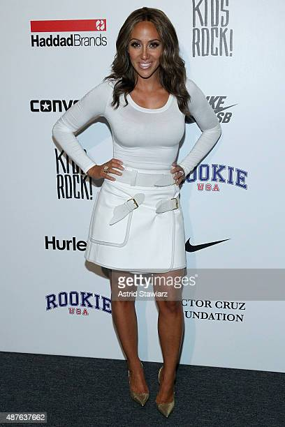 Melissa Gorga poses backstage at the Kids Rock fashion show during Spring 2016 New York Fashion Week The Shows at The Dock Skylight at Moynihan...
