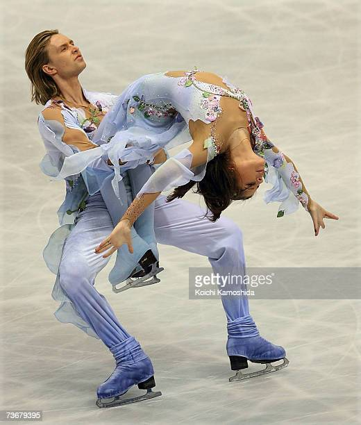 Melissa Gregory and Denis Petukhov of USA skate during the ice dancing free dance at the World Figure Skating Championships at the Tokyo Gymnasium on...