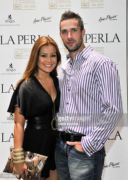 Melissa Grelo and Ryan Gaggi attend the La Perla Fashion Show At Nikki Beach at TIFF Bell Lightbox on September 12 2011 in Toronto Canada