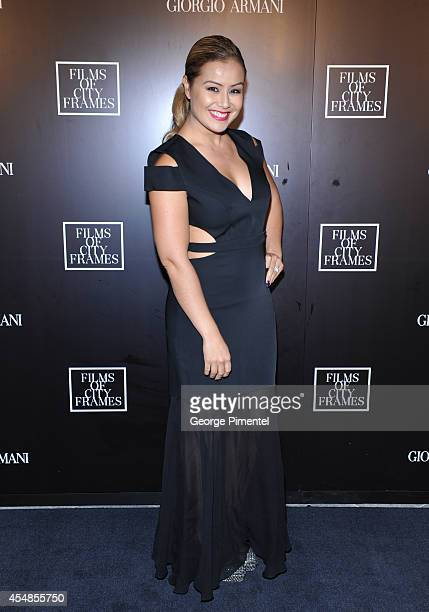 Melissa Grelo attends the Giorgio Armani Presents Films Of City Frames With Exclusive Cocktail Party At The CN Tower during the 2014 Toronto...