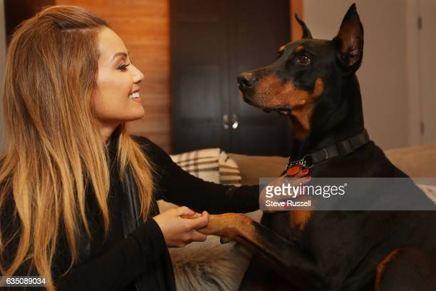 TORONTO ON JANUARY 4 Melissa Grelo CoHost of The Social and Your Morning has a Doberman pinscher named Sultan in Toronto