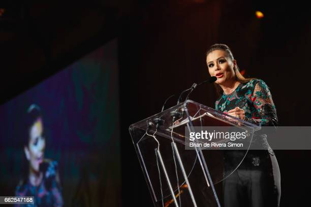 Melissa Grelo speaks at the Organ Project Inaugural Gala at the Fairmont Royal York Hotel on March 31 2017 in Toronto Canada