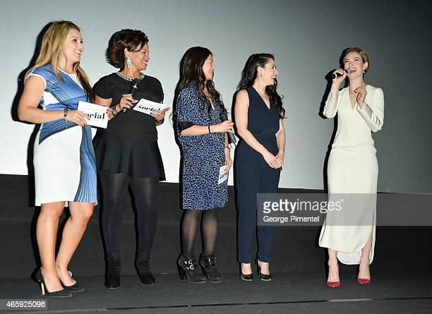 Melissa Grelo Traci Melchor Elaine LuiCynthia Loyst and Lily James attend the Toronto Special screening of Disney's 'Cinderella' held at Scotiabank...