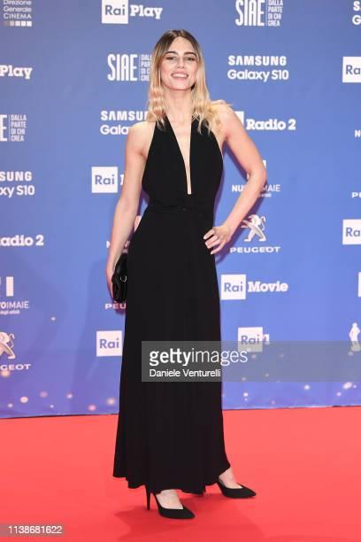 Melissa Greta walks a red carpet ahead of the 64 David Di Donatello awards ceremony Red Carpet on March 27 2019 in Rome Italy