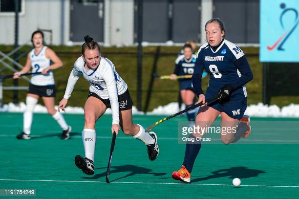 Melissa Gula of Franklin Marshall chases Isabel Chandler of Middlebury during the Division III Women's Field Hockey Championship held at Spooky Nook...