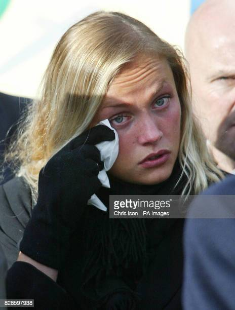 Melissa Hammond the girlfriend of firefighter Alexander Kent after speaking at his funeral at All Saints Church in Crowborough East Sussex Alex a...