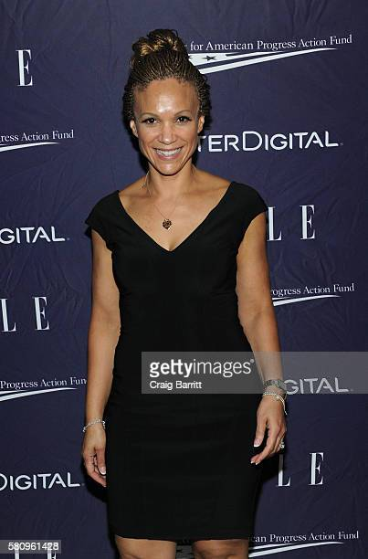 Melissa Harris Perry attends a reception hosted by ELLE EditorinChief Robbie Myers and Center for American Progress President Neera Tanden sponsored...