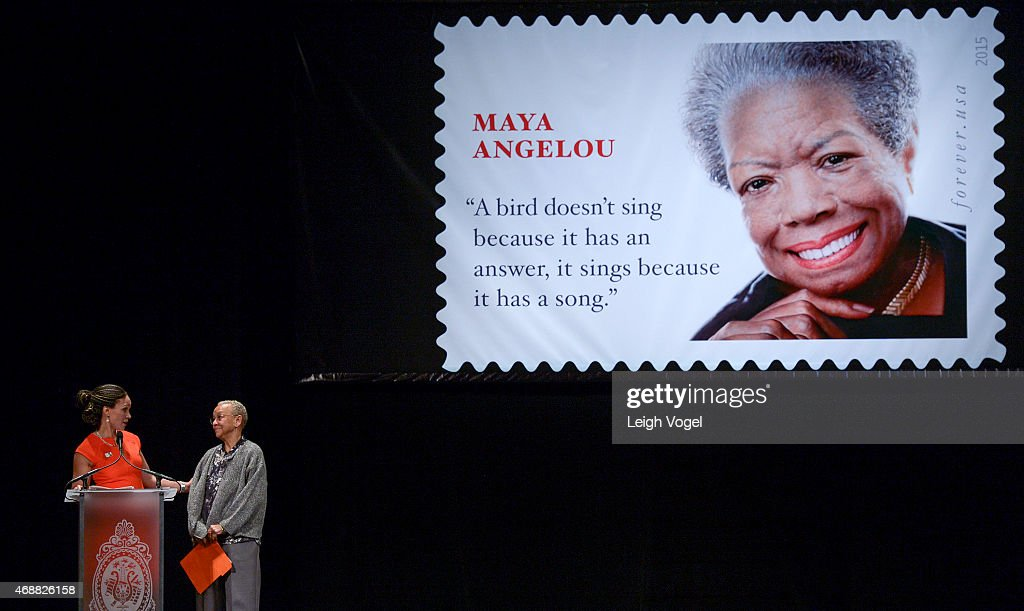 Melissa Harris-Perry and Nikki Giovanni speak during the Maya Angelou Forever Stamp Dedication at Warner Theatre on April 7, 2015 in Washington, DC.