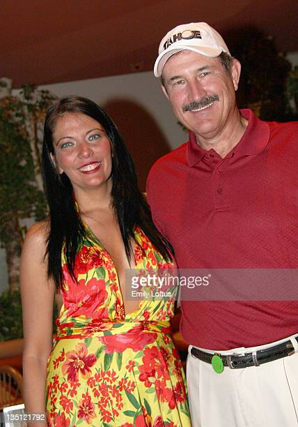 Melissa Hazelton of Wrapture Cigars and Rick Rhoden attend the Backstage Creations 2008 American Century Championship Golf Tournament on July 9 2008...