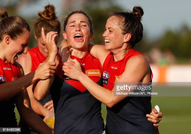 Melissa Hickey and Daisy Pearce of the Demons celebrate during the 2018 AFLW Round 02 match between the Melbourne Demons and the Adelaide Crows at...