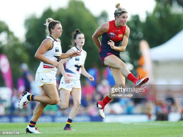 Melissa Hickey of the Demons kicks the ball during the round two AFLW match between the Melbourne Demons and the Adelaide Crows at Casey Fields on...